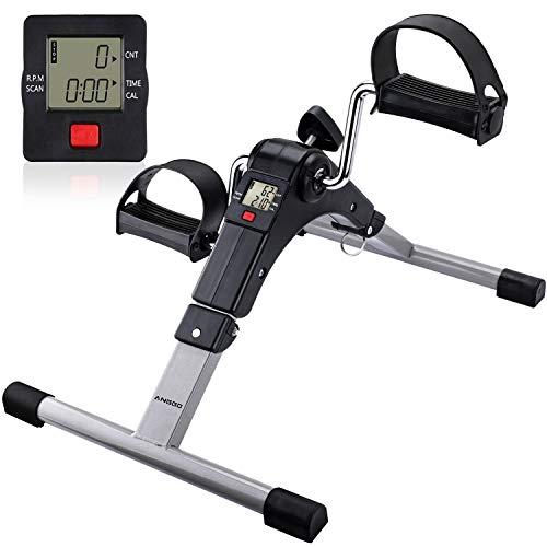 ANGGO Mini Cyclette Pedaliera Pieghevole, Pedale Trainer Allenatore Braccia e Gambe con Monitor LCD, Mini Bike Cyclette Resistenza Regolabile per Fitness, Riabilitativa
