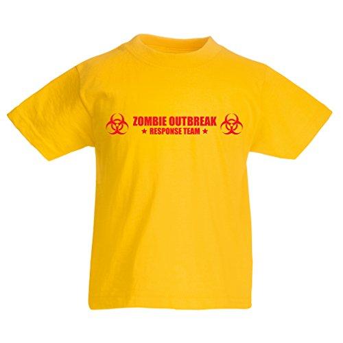 N4519K La Camiseta de los niños Zombie Outbreak Response Team (3-4 Years Amarillo Rojo)