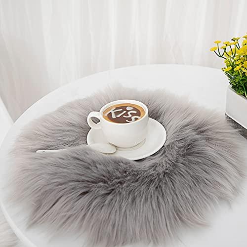 DAOXU Kunstfell Pelz Stuhl, Sitz Pad Shaggy Bereich Teppiche für Schlafzimmer Sofa Boden Home Decorator Teppiche Spielen Teppich Matte Teppich (Grau, 30cm runde)
