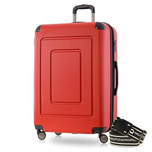Happy Trolley - Lugano Hartschalen-Koffer Koffer Trolley Rollkoffer Reisekoffer Lugano, sehr leicht + stabil, TSA, 76 cm, 113 Liter, Rot +Gepäckgurt
