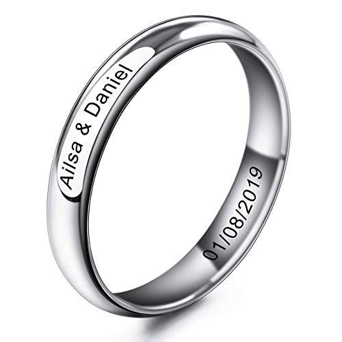 MeMeDIY 4mm Silber Ton Edelstahl Ring Band Hochzeit Lieben Größe 57 (18.1) Gravur