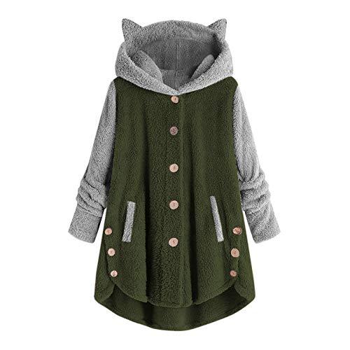 HOUADDY Sudadera con capucha para mujer, de invierno, de manga larga, con diseño de orejas de gato, color cálido, de forro polar, color verde, 4XL