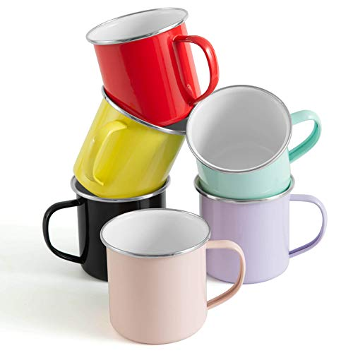 Rorence Camping Mugs Coffee Mugs: 6 Piece 12 Oz Colorful Powder Coated Metal Camp Cups Coffee Cups