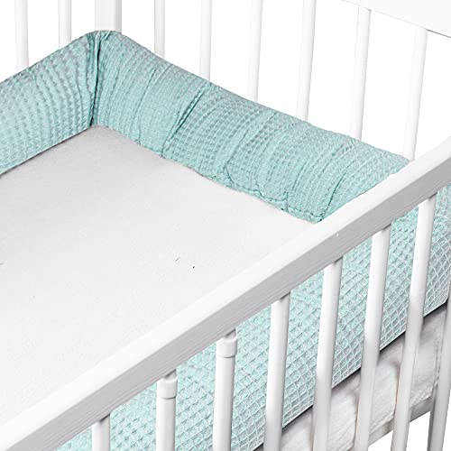 Protectores para cunas y camas de bebé - Protector Chichonera Cama Bebé Cojín Parachoques Torre Protectores (3. verde menta, 150 cm - Algodón Gofre)