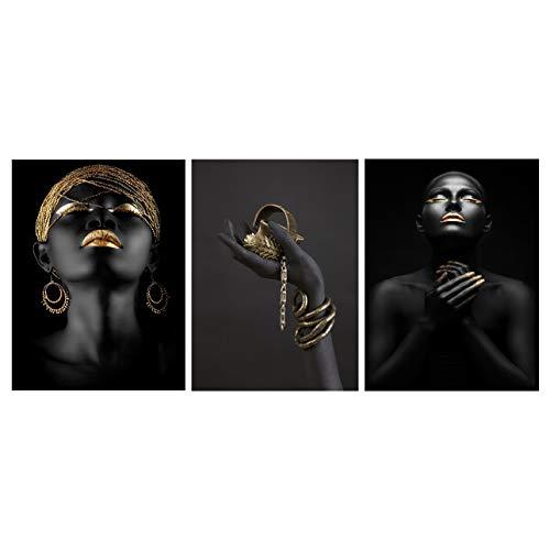 BPNHNA - Lienzo afroamericano con impresión de mujer negra y hombre, retrato con detalles dorados, para decoración de pared (3 piezas sin marco)