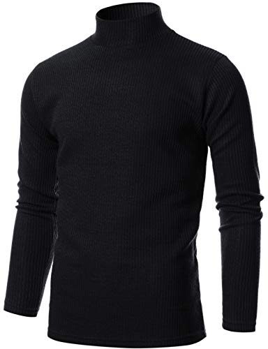 GIVON Mens Slim Fit Soft Blend Mock Neck Pullover Sweater/DCP076-BLACK-M