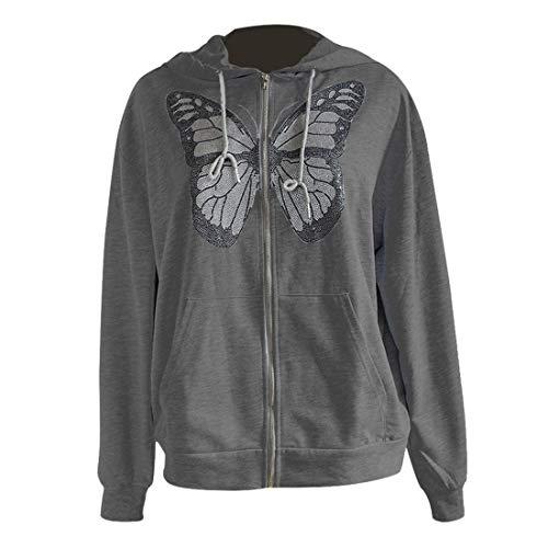 wenyujh Hoodie Jacke Damen Sweatshirt Kapuzenpullover mit Reißverschluss Langarm Kurzmantel Outwear Freizeitjacke Coat für Frauen(B-Dunkelgrau, M)