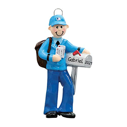 Personalized Mailman Christmas Tree Ornament 2020 - Postman Carry Mails Bag Uniform Holiday Postal Service Parcel Office Coworker Profession Letter New Job Gift Year - Free Customization