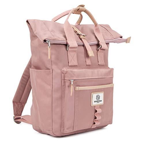 SEVENTEEN LONDON – Moderner und stilvoller 'Canary Wharf' Rucksack in rosa mit einem klassischen gefalteten Roll Top Design – perfekt für 13-Zoll-Laptops