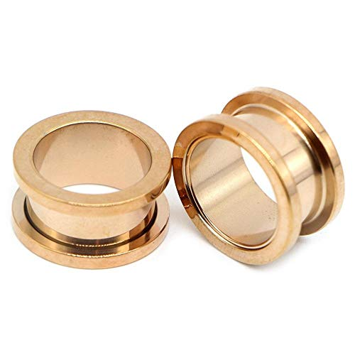 2pcs Colorful Anodized Stainless Steel Screw Fit Ear Flesh Tunnel Earring Plug Expander Body Jewelry Piercing Earlet Gauges-E_-Rose_Gold_25mm