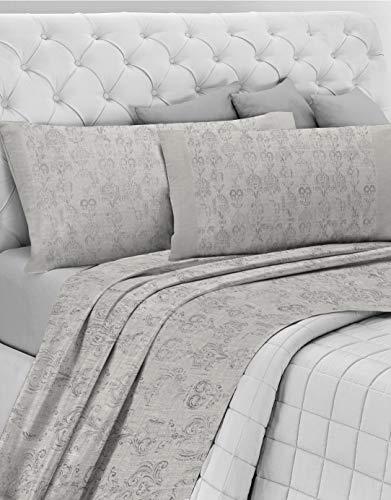 GEMITEX Juego de sábanas primaveral para Cama de Matrimonio, Color Gris, 100 % algodón Fresco, Fabricado en Italia, Suave y Transpirable, línea de algodón en G16, Variante 13, King Size