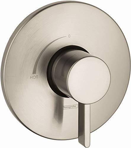 hansgrohe Ecostat Modern Minimalist Easy Control 1-Handle 7-inch Wide Pressure Balance Shower Valve Trim in Brushed Nickel, 04233820