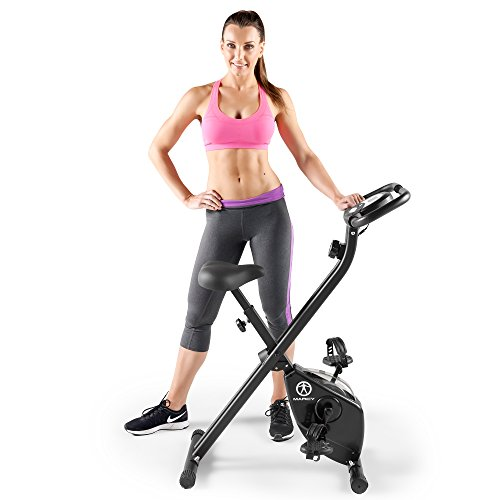Marcy Magnetic Foldable Upright Exercise Bike with 8 Resistance Levels - Black - NS-654