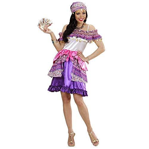 Widmann 49413 - volwassenen kostuum Zigeunin Gipsy, jurk, lila, maat L XL X-Large lila