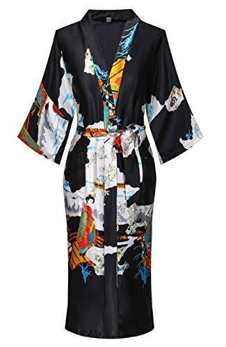 Women's Silky Kimono Robes Long Satin Bathrobes Sleepwear...