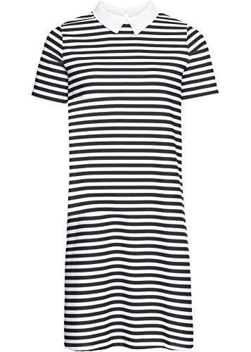 bonprix Gerade geschnittenes Kleid mit Kragen und kurzen Ärmeln schwarz/wollweiß gestreift 40/42 für Damen