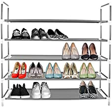 Azadx 5 Tiers Shoe Rack, Free Standing Non-Woven Fabric Shoe Tower Storage Organizer, Space-Saving Shoes Cabinet Closet Organizer, 39