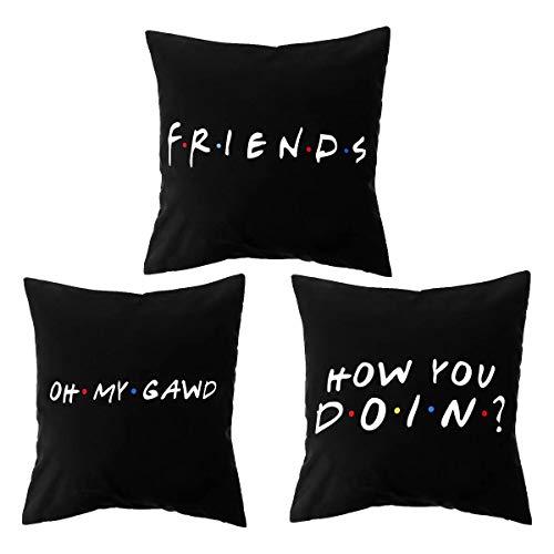 honglilai 3PCS 18x18 inch Black Sofa Polyester Home Decor Friends TV Show Cushion Cover Pillow Covers Pillow Cases (3PCS SET 1 2 3)