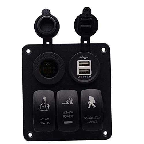 Cerrar panel interruptor panel de combinación de voltímetro con enchufe doble USB coche barco marino camión motocicleta Interior Accesorios