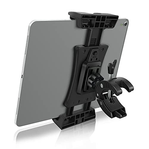 MECO ELEVERDE Soporte Tablet Bicicleta Estatica, 360° Rotación Soporte Bicicleta para Móvil, Compatible con Soporte de iPad/Micrófono/Bici Estática/Ciclismo Indoor, 4.7'-12.9' de Tabletas o Móvil