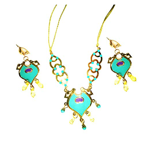 Lovely Mermaid Princess Jasmine Arabian Costume for Girls Halloween Party Dress Up (earlings and Necklace,One_Size)