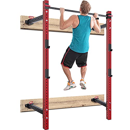 Merax Wall Mount Folding Squat Rack, 1000lb Capacity Fold Back Power Rack with Pull Up Bar, J-Cups for Home Gym Fitness Equipment