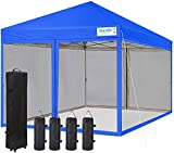 Quictent 10x10 Ez pop up Canopy Tent with Netting Instant Screen House Mesh Screen Walls Waterproof,Roller Bag & 4 Sand Bags Included (Royal Blue)