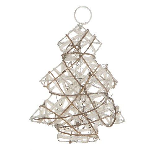 Féérie Lights & Christmas Sapin de Noël pailleté à Suspendre - 13 x 15 cm - Blanc