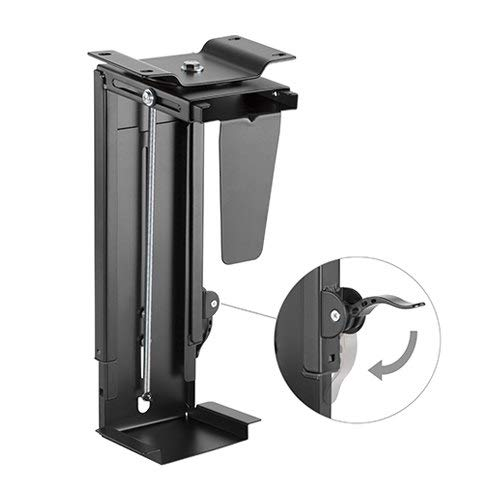 Mount Plus MP-CPB-19 New Stepless Adjustable Under Desk and Wall Computer Mount | Computer Case Holder with 360-degree Swivel