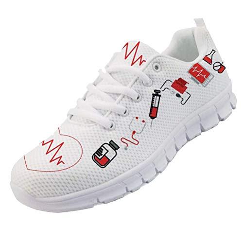 chaqlin Sneakers Donna Scarpe da Corsa Casual Infermiera Scarpe da Ginnastica Carine Scarpe da Escursionismo con Lacci Leggere Taglia 38