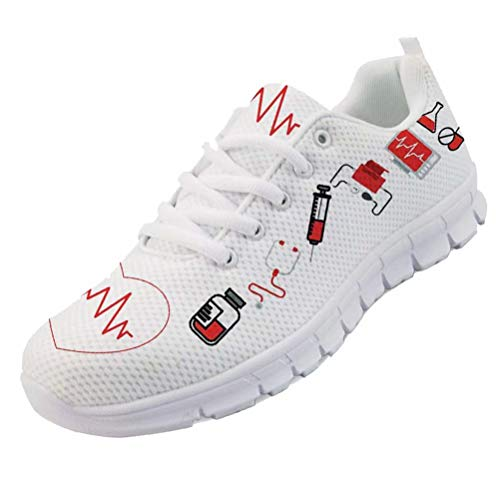 chaqlin Sneakers Donna Scarpe da Corsa Casual Infermiera Scarpe da Ginnastica Carine Scarpe da Escursionismo con Lacci Leggere Taglia 37