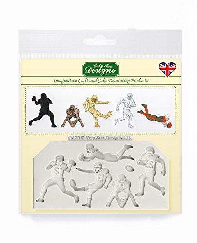 American Football Silhouetten Silikonform für Kuchendekoration, Basteln, Cupcakes, Sugarcraft, Süßigkeiten, Schokolade, Karten und Ton, lebensmittelecht, hergestellt in Großbritannien