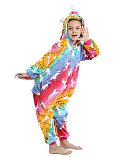 Ecparty Soft Unicorn Hooded Bathrobe Sleepwear for Kids Party Costume (Colorful Unicorns Rainbow Galaxy-04, 3-4T)