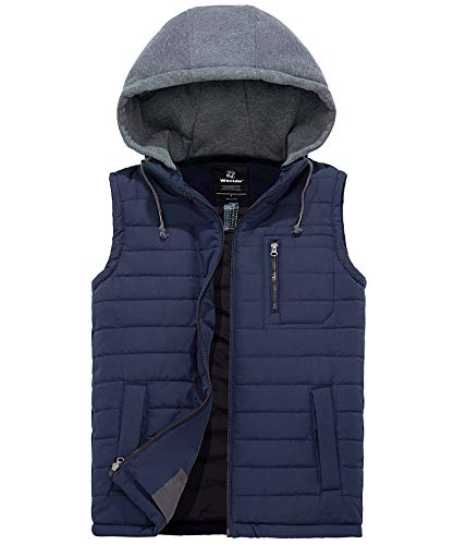 Men's Hooded Puffer Vest, Quilted Lightweight Gilet, Padded Bubble Vest for Winter Sports/ Travel/ Casual