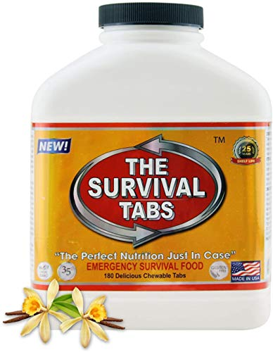 Survival Tabs 15 Day 180 Tabs Emergency Food Survival Food Meal Replacement MREs Gluten Free and Non-GMO 25 Years Shelf Life Long Term Food Storage - Vanilla Flavor