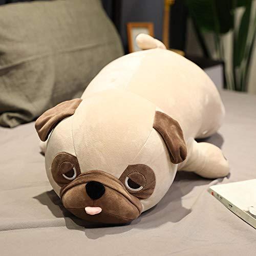 JMKHY Cute Plush Pug Toy Soft Stuffed Plush Animal Shar Pei Soft Doll Dog Plush Toy Pillow Kids Toys Birthday Gift for Girlfriend-50cm_Khaki