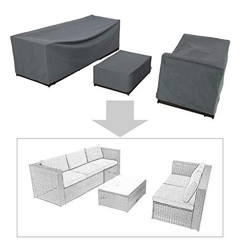 Baner Garden K35 Compact 3-Piece Outdoor Veranda Patio Garden Furniture Cover Set with Durable and Water Resistant Fabric