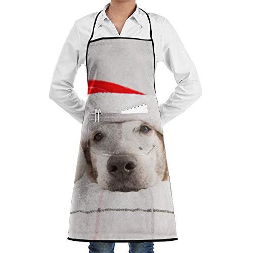 Pag Crane Cane Che Indossa Cappello da Babbo Natale Grill Personalizzato Grembiuli da Cuoco Cucina Grembiule Personalizzato Cottura Cottura a Figura Intera per Donna Uomo Unisex