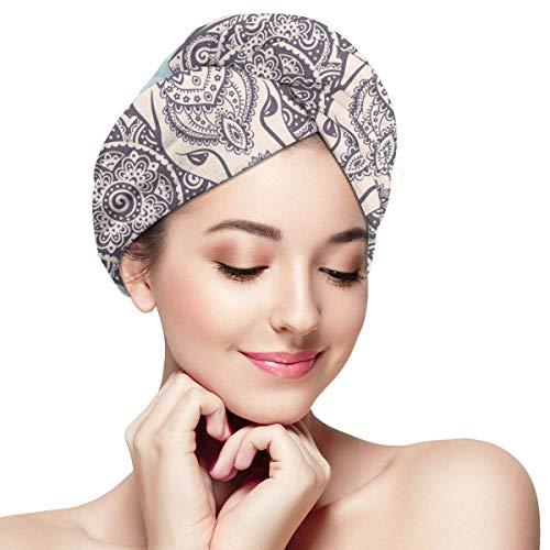 N/A Serviette à cheveux en microfibre à séchage rapide, bonnet de bain, style ethnique vintage avec symbole de la prospérité et de la chance