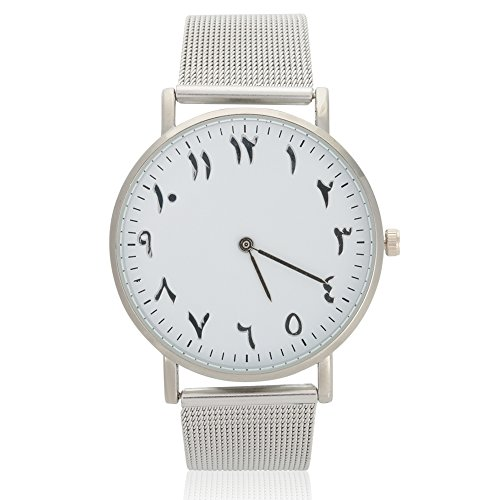 VGEBY1 Frauen Uhr Quarzwerk Edelstahlarmband Analog Round Dial Watch Armbanduhr für 2 Farben Silber Classic & Rose Gold(Silber)