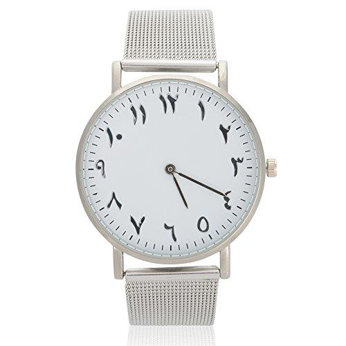 Reloj de pulsera analógico con esfera redonda, correa de acero inoxidable [#01], reloj de cuarzo para mujer