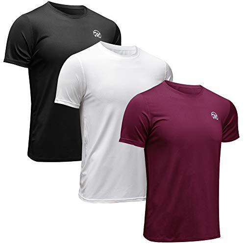 MEETWEE Sportshirt Herren, Laufshirt Kurzarm MeshFunktionsshirtAtmungsaktivKurzarmshirt Sports Shirt Trainingsshirtfür Männer, Schwarz+weiß+rot, L