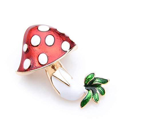 KXBY Rode Paddestoel Emaille Broches Vrouwen Legering Planten Voedsel Broche Pins GiftsBrooch Accessoires
