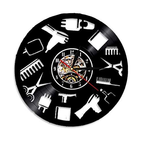 N/ Coupe de Cheveux Outils Conception Disque Vinyle Horloge Murale Salon de Beauté Coiffure Horloge Murale Salon De Coiffure Cadeau pour Coiffeur