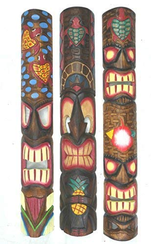 3 Tiki Muur Maskers Muur Masker in Hawaii Look Houten in 100cm Lengte