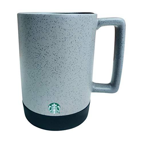 Starbucks Grey/Black Speckled Ceramic Desktop Mug Silicone Nonslip Bottom with press-in Lid, 14 Fl Oz