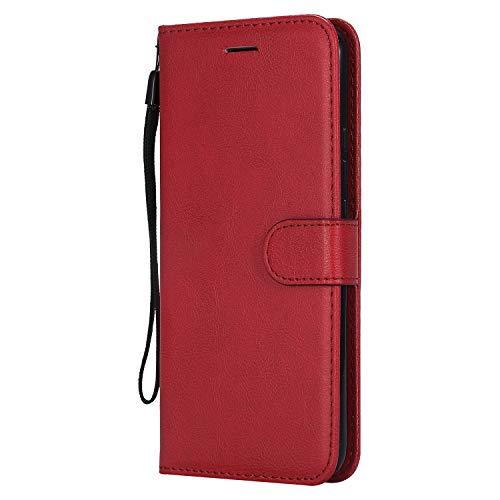 Jeewi Hülle für Huawei [Mate 20 Lite] Hülle Handyhülle [Standfunktion] [Kartenfach] [Magnetverschluss] Tasche Etui Schutzhülle lederhülle klapphülle für Huawei Mate 20Lite - JEKT050747 Rot