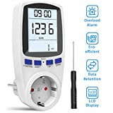 Gafild Medidor de consumo de corriente del medidor de energía, Medidor de Costo de Energía Medidor con pantalla LCD,protección contra sobrecarga,3680W