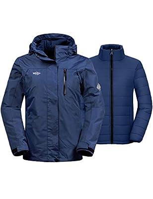 Wantdo Women's Windproof 3-in-1 Ski Jacket Winter Coat for Snowboarding Navy XL