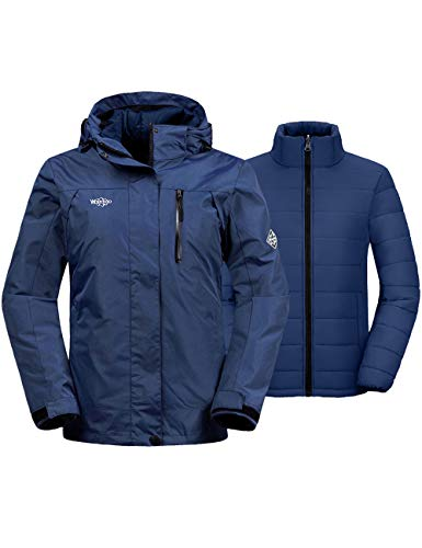 Wantdo Women's Winter Ski Jacket Windbreaker with Detachable Puffer Liner Navy L